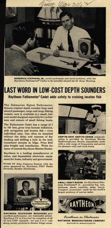 Raytheon Manufacturing Company's Various – Last Word In Low-Cost Depth Sounders (1952)