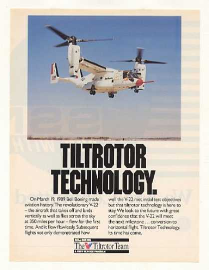 Bell Boeing V-22 Tiltrotor Aircraft Photo (1989)