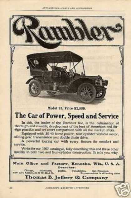 Thomas B. Jeffery Rambler Car Ad Model 25 (1907)