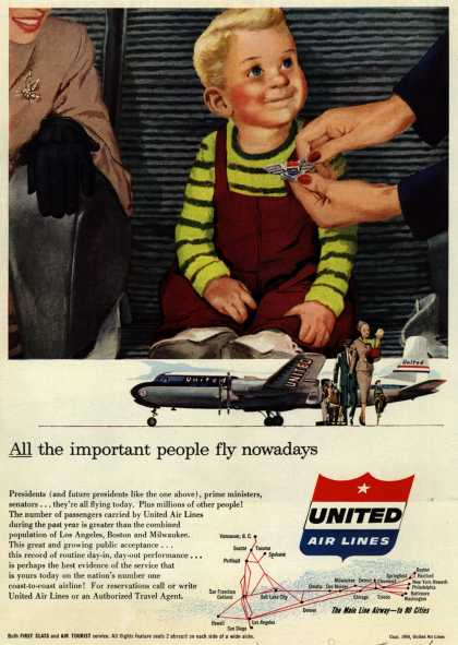 United Air Lines – All the important people fly nowadays (1954)