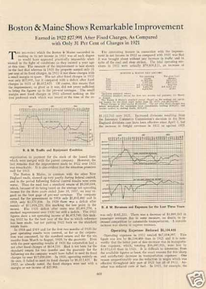 """B&m Shows Remarkable Improvement"" Article (1923)"