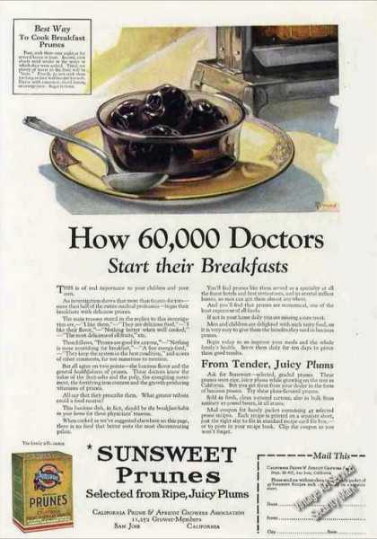"Sunsweet Prunes ""60,000 Doctors"" Breakfast (1924)"
