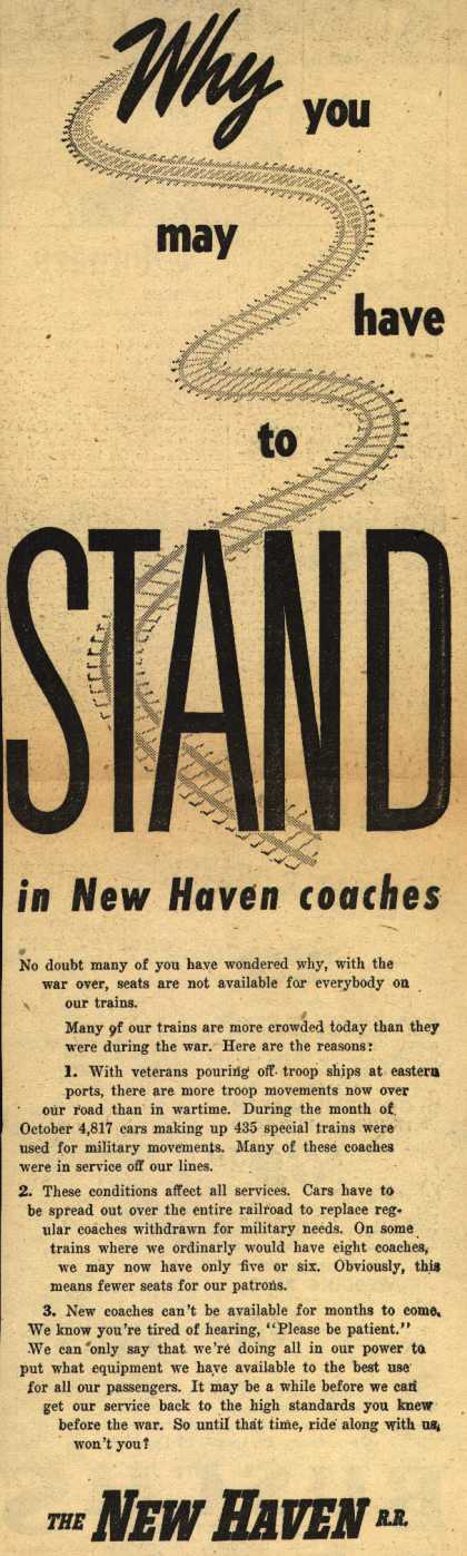 New Haven Railroad – Why you may have to STAND in New Haven coaches (1945)