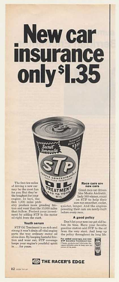 STP Oil Treatment Can New Car Insurance $1.35 (1969)