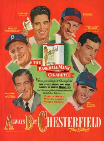 Chesterfield Baseball Musial Williams Dimaggio (1948)