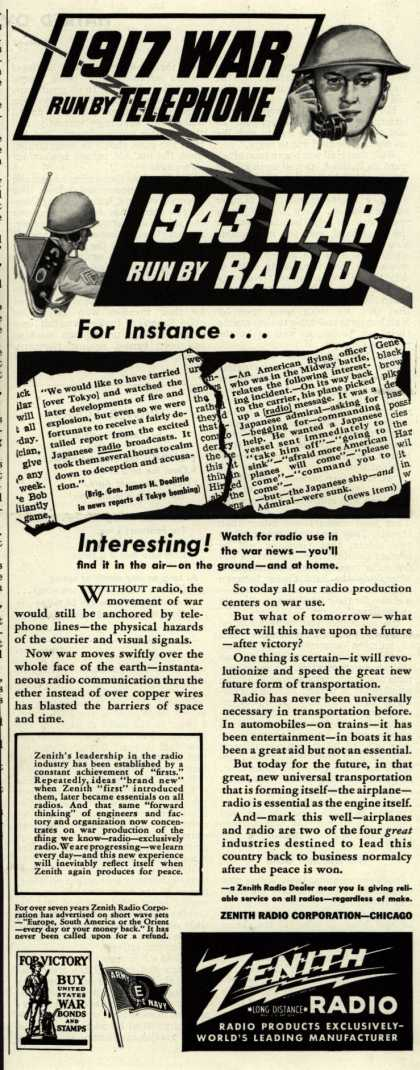 Zenith Radio Corporation's Radio – 1917 War Run By Telephone, 1943 War Run By Radio (1943)