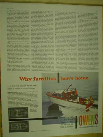 Owens Speedships. Boats, boating. Why families leave home (1959)