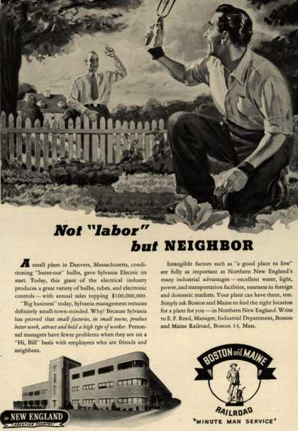 "Boston and Maine Railroad's good employee and boss relationship – Not ""labor"" but NEIGHBOR (1946)"