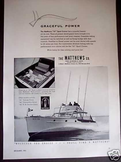 Matthews 41' Sport Cruiser Yacht Boat Photo (1953)