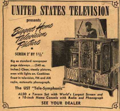 "United States Television's The UST ""Tele-Symphonic"" – United States Television Presents Biggest Home Television Picture (1947)"