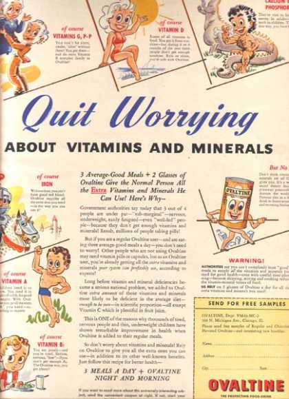 "Ovaltine's ""Quit Worrying about Vitamins and Minerals"" (1943)"