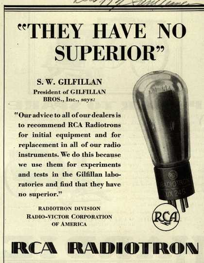RCA Radiotron's Radio Tubes – They Have No Superior (1929)