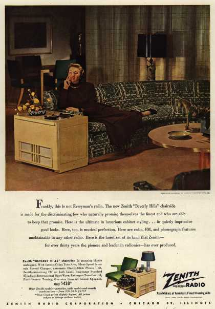 "Zenith Radio Corporation's ""Beverly Hills"" chairside – Frankly, this is not Everyman's radio. (1948)"