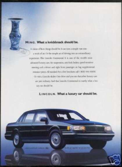 Black Lincoln Continental Ming Vase Car Photo (1989)