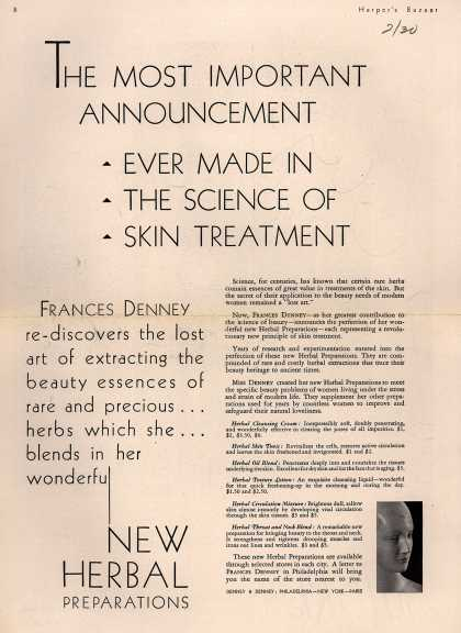 Denney & Denney's Herbal Preparations – The Most Important Announcement Ever Made In The Science Of Skin Treatment (1930)