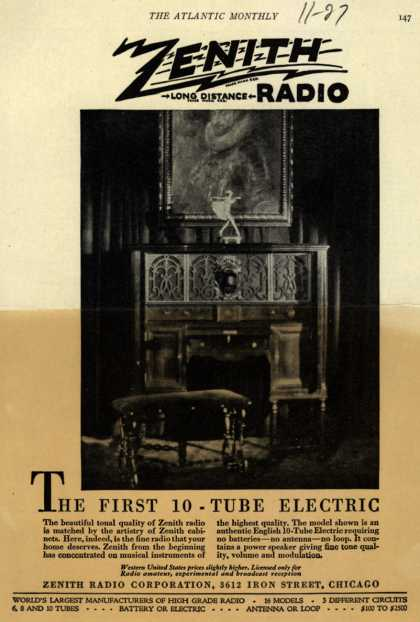 Zenith Radio Corporation's English 10 Tube Radio – The First 10 Tube Electric (1927)