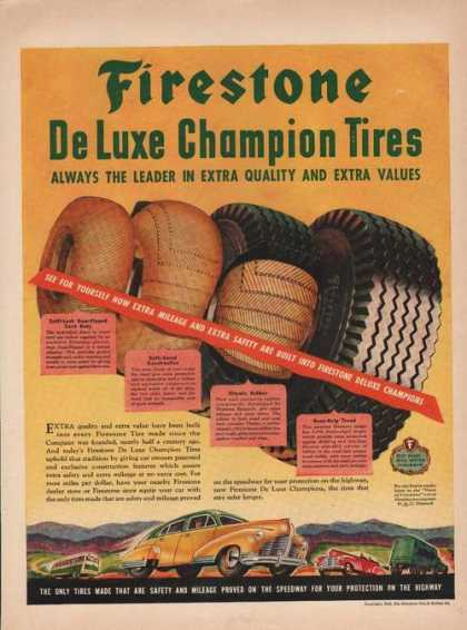 Firestone Deluxe Champion Car Tire Print A (1946)
