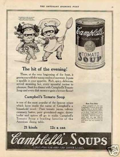 "Campbell's Tomato Soup Ad ""The Hit of the Evening"" (1921)"