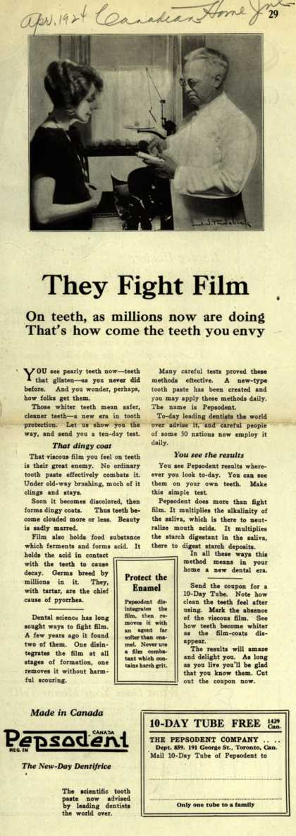 Pepsodent Company's tooth paste – They fight film (1924)