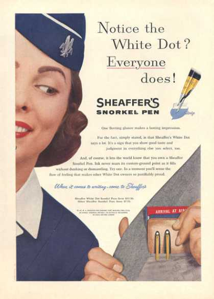 Sheaffer's Snorkel Pen Airline Stewardess (1957)