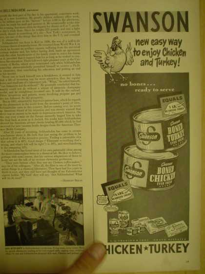 Swanson Canned Chicken and Turkey (1949)