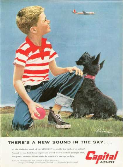 Capital Airlines Boy & Scottish Terrier (1955)