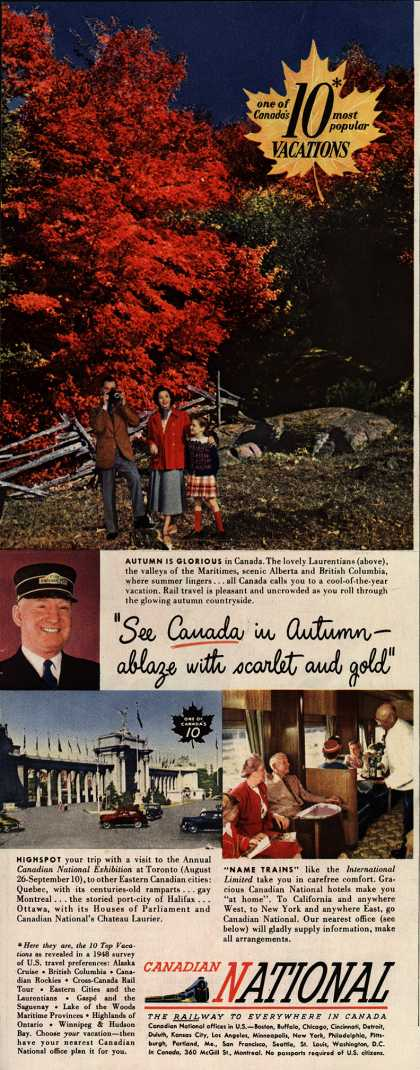 "Canadian National Railway's Canada – ""See Canada in Autumn-ablaze with scarlet and gold"" (1949)"