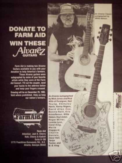 Willie Nelson Photo Farm Aid Alvarez Guitar (1986)