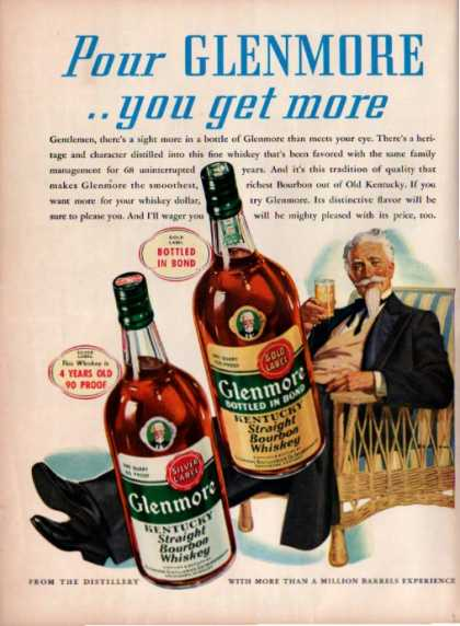 Glenmore Bourbon Whiskey Southern Gentleman (1940)
