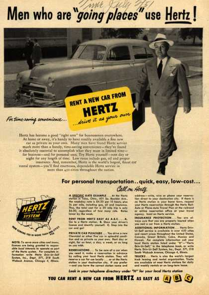 "Hertz – Men who are ""going places"" use Hertz (1951)"