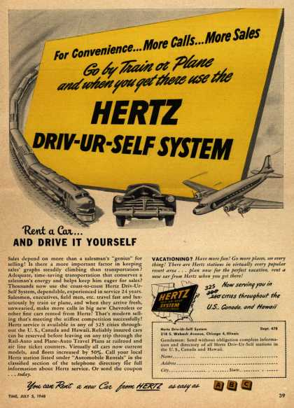 Hertz's Driv-Ur-Self System – For Convenience...More Calls...More Sales Go by Train or Plane and when you get there use the Hertz Driv-UR-Self System (1948)