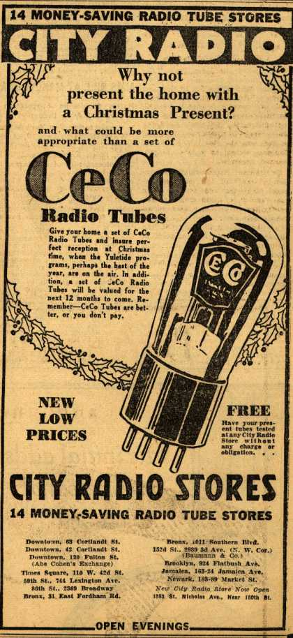 CeCo Manufacturing Company's Radio Tubes – Why not present the home with a Christmas Present? (1930)
