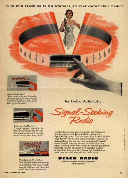 Delco Radio's Delco Automatic Signal-Seeking Radio – Tune at a Touch up to 50 Stations on Your Automobile Radio (1953)