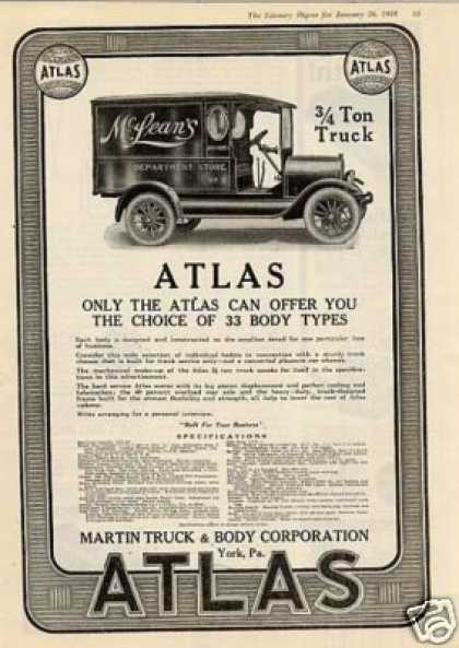 Atlas Truck Ad Mclean's Department Store (1918)