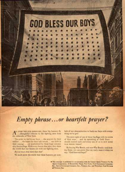 U. S. Treasury Dept.'s War Bonds – God Bless Our Boys Empty phrase... or heartfelt prayer? (1943)