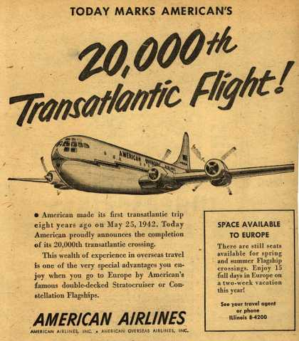 American Airlines – Today Marks American's 20,000th Transatlantic Flight (1950)
