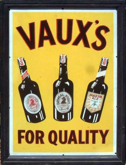 Vaux's Quality Ales Sunderalnd Sign