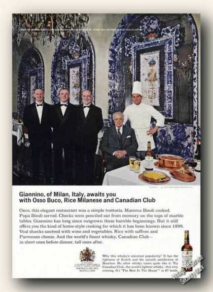 Giannino Restaurant Milan Italy Canadian Club (1966)