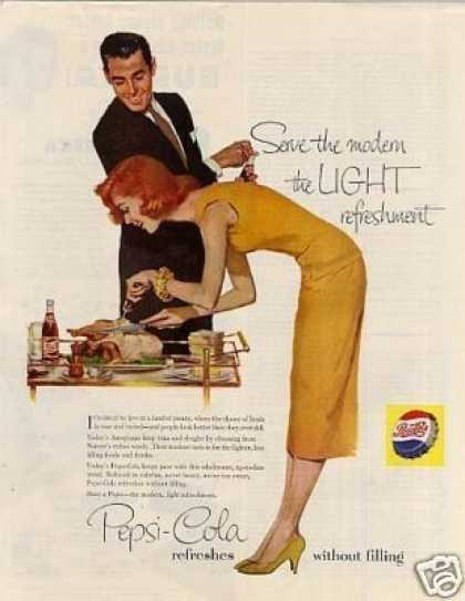 Pepsi-cola Ad Lady Carving Turkey (1956)