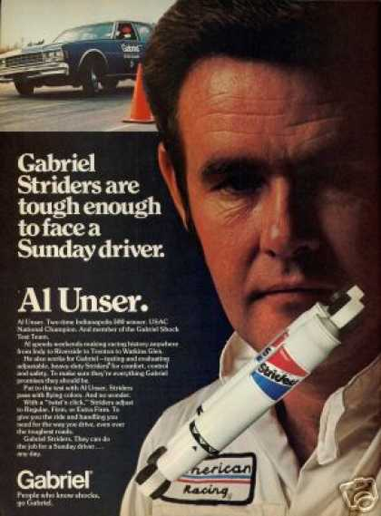 Al Unser Photo Gabriel Car Shocks Vintage (1977)