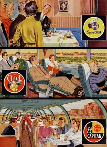 Santa Fe Super Cheif El Capitan Train Ad T (1954)