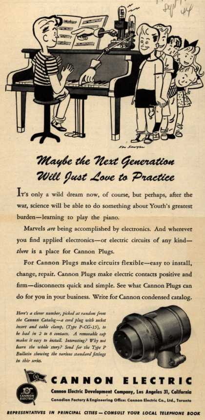 Cannon Electric Development Company&#8217;s Cannon cord plug Type P-CG-15 &#8211; Maybe the Next Generation Will Just Love to Practice (1944)