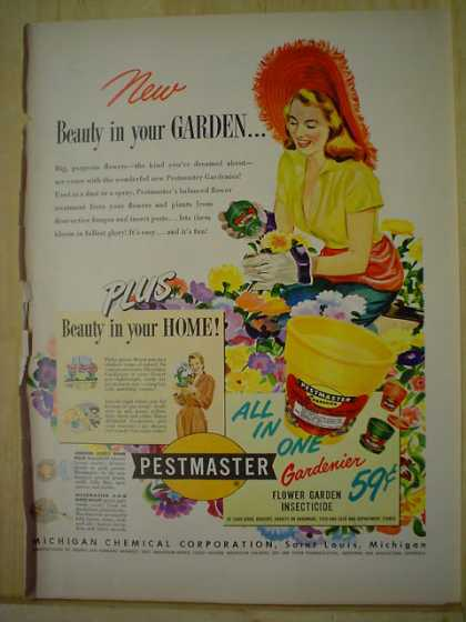 Pestmaster Flower Garden Insecticide AND Carling's Red Cap Ale Golfer Cary Middlecoff (1950)