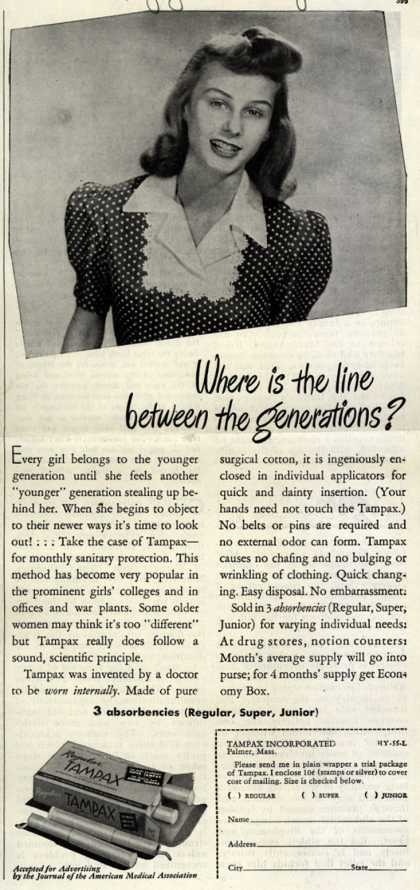 Tampax's Tampons – Where is the line between generations? (1945)