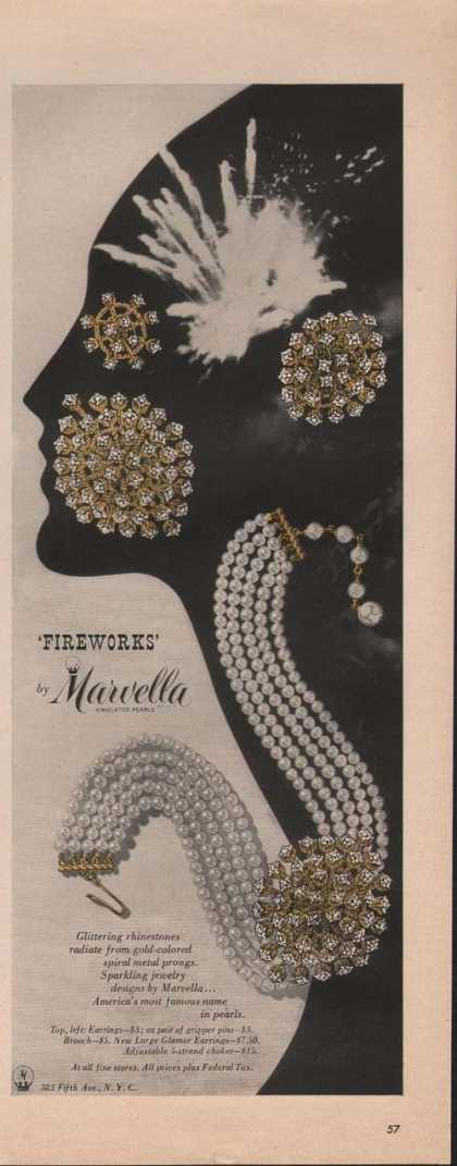 Fireworks Marvella Simulated Pearls Print (1951)
