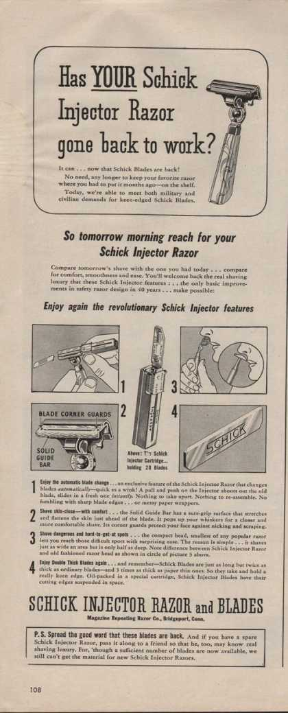 Schick Injector Razor and Blades (1942)