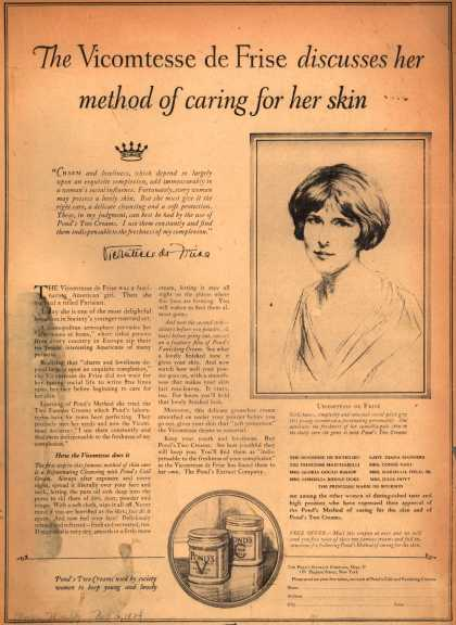 Pond's Extract Co.'s Pond's Cold Cream and Vanishing Cream – The Vicomtesse de Frise discusses her method of caring for her skin (1924)