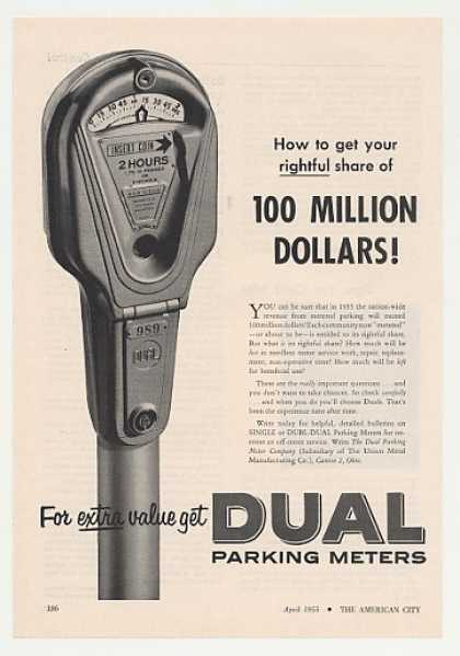 Dual Single Parking Meter Photo (1955)