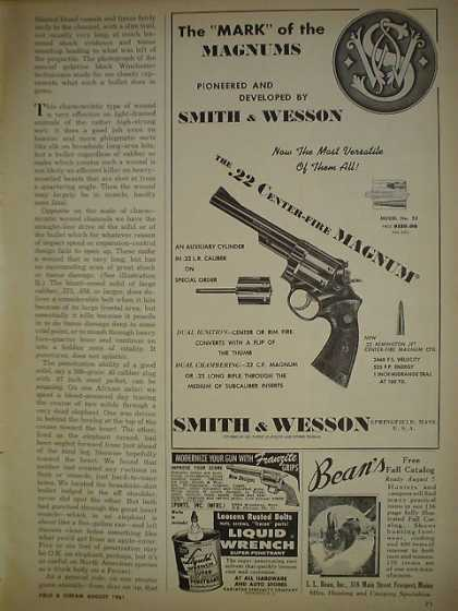 Smith Wesson .22 Center fire Magnum Handgun Gun SOME BROWNING size is 4 3/4 x 7 3/4 (1961)