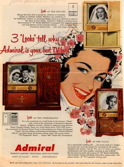 "Admiral Corporation's Television Consoles and Combinations – 3 ""Looks"" Tell You Why Admiral Is Your Best TV Buy (1953)"